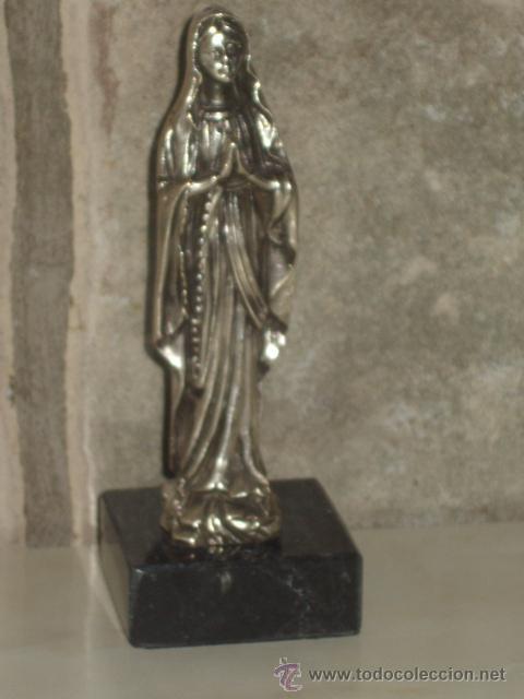 Antigüedades: VIRGEN SOBRE PEANA DE MARMOL NEGRO. - Foto 10 - 47758459