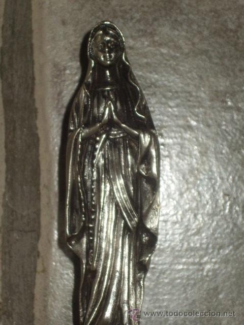 Antigüedades: VIRGEN SOBRE PEANA DE MARMOL NEGRO. - Foto 11 - 47758459