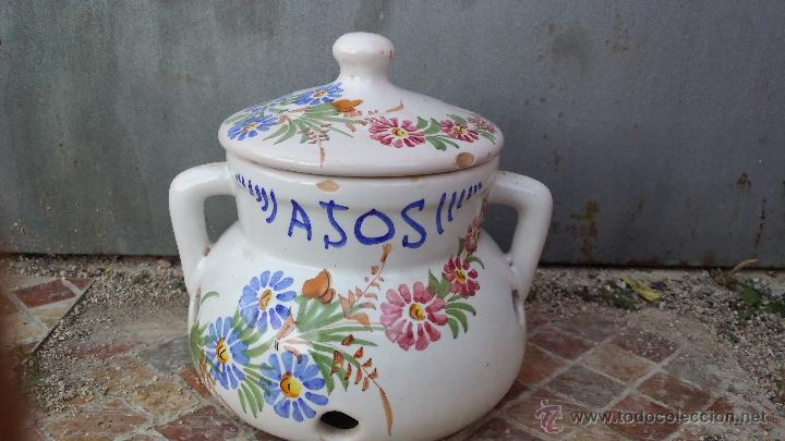 PRECIOSA OLLA PARA AJOS, PINTADA Y FIRMADA LARIO. (Antigüedades - Porcelanas y Cerámicas - Lario)