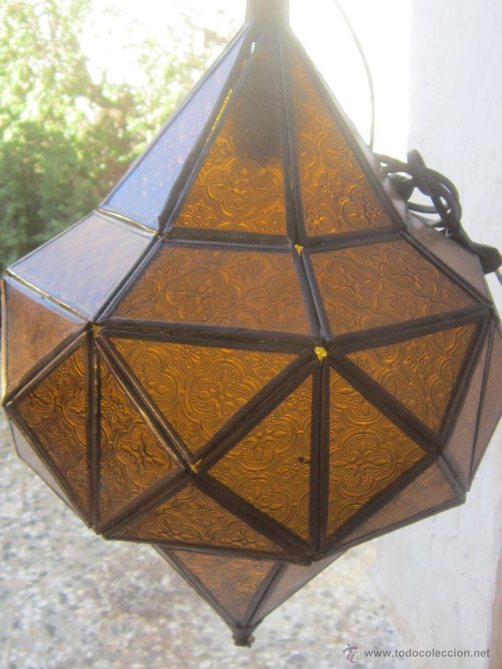Lampara de techo arabe en metal y cristales con comprar - Cristales para techos ...