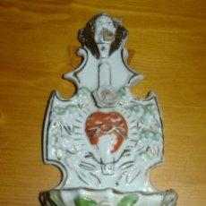 Antigüedades: AGUA BENDITERA DE PORCELANA POLICROMADA, PICA DEL S.XIX DE EPOCA ISABELINA. Lote 47767553