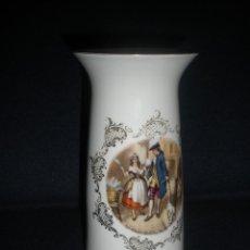 Antigüedades: FLORERO PORCELANA LIMOGES CON ESCENA EN AMBAS CARAS 17,7 CM. Lote 47769264