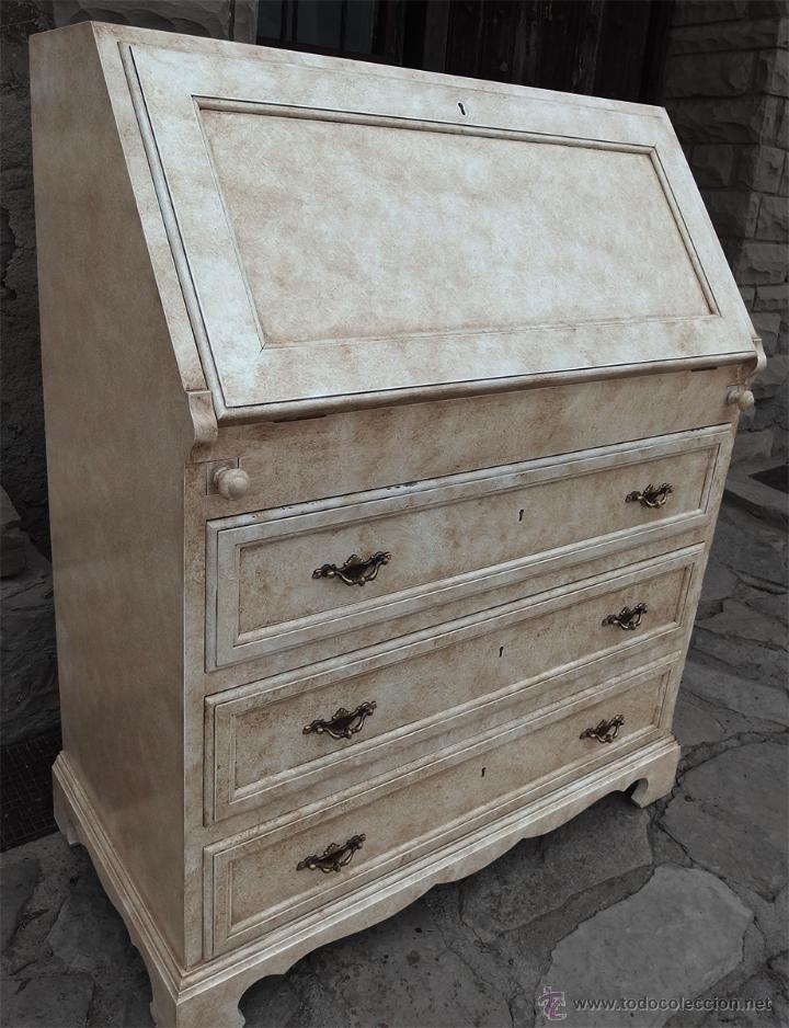 Canterano escritorio lacado en blanco envejeci comprar for Restaurar muebles lacados
