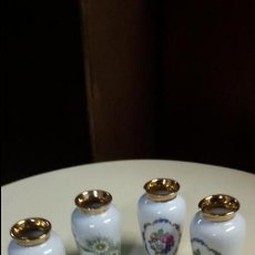 Antigüedades: CUATRO JARRONCITOS DE CERÁMICA GUILLEN CON DOS MOTIVOS FLORALES DIFERENTES. Lote 47803187