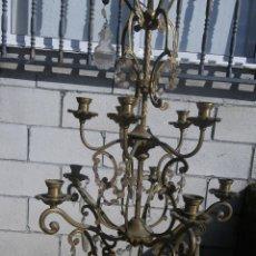 Antigüedades: MUY ANTIGUA LAMPARA EN BRONCE Y CRISTAL , IDEAL RESTAURADORES ,,, VER. Lote 58356141