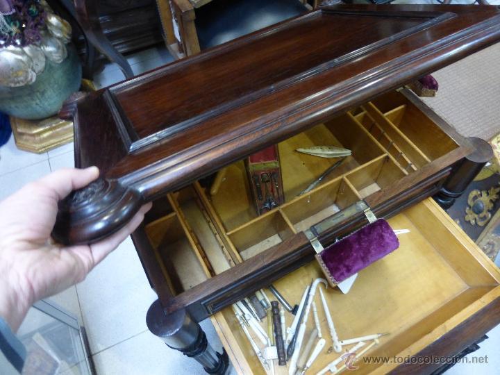 Antigüedades: ANTIGUO COSTURERO PALACIEGO FRANCES ORIGINAL DEL S. XIX - MADERA DE PALOSANTO CON MAGNIFICA FACTURA- - Foto 3 - 47839547