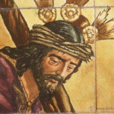 Antigüedades: PLAFÓN DE DOCE AZULEJOS . MENSAQUE RODRIGUEZ . CRISTO DE PASIÓN. Lote 47848971