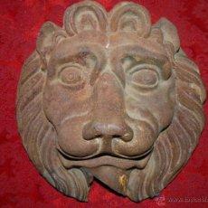 Antigüedades: CABEZA DE LEÓN EN HIERRO S-XIX O ANTERIOR. Lote 47853360