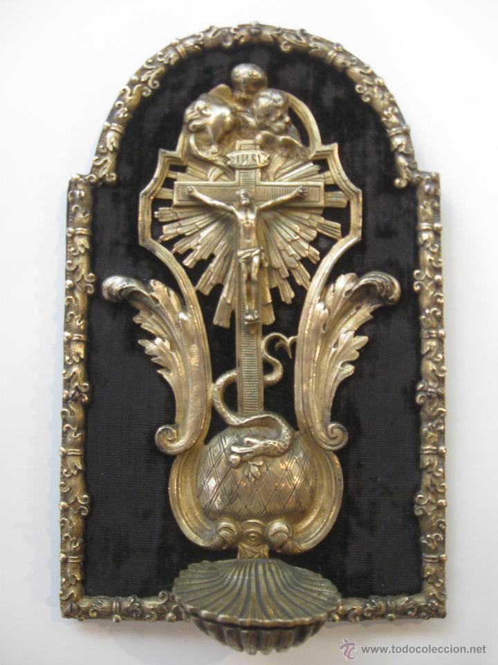 BENDITERA EN BRONCE (Antigüedades - Religiosas - Benditeras)