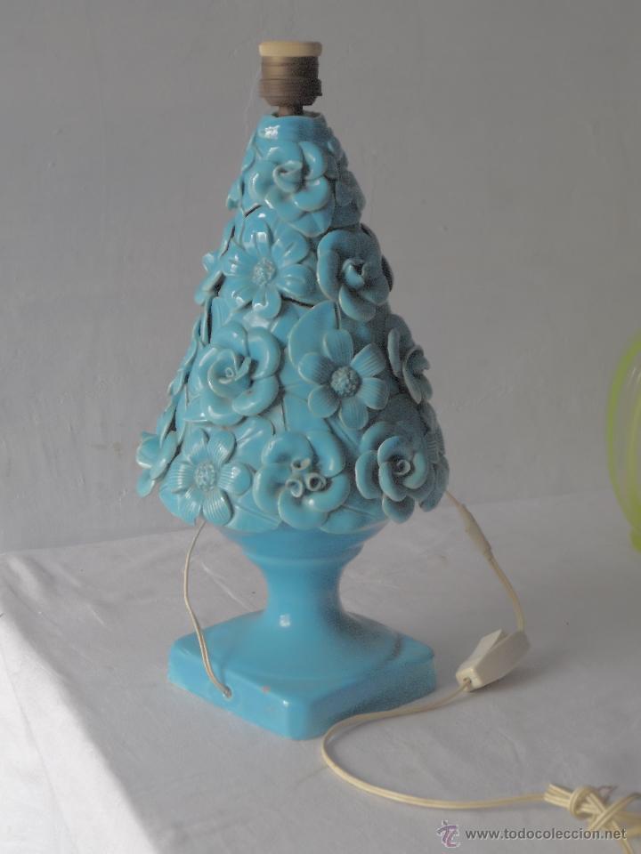 Antigüedades: lampara ceramica manises color azul 42 cm - Foto 5 - 47865150