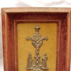Antigüedades: PILA BENDITERA. SIGLO XVIII. METAL PLATEADO. EN SU MARCO ORIGINAL.. Lote 47869585