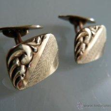 Antigüedades: GEMELOS ANTIGUOS EN METAL DORADO. Lote 47870268
