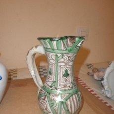 Antigüedades: JARRA DE CERAMICA DECORACION VERDE MARCA PUNTER - TERUEL ALTURA 20 CM. . Lote 47876883