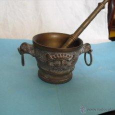 Antigüedades: ALMIREZ O MORTERO DE BRONCE, NO HAY OTRO EN EL MERCADO IGUAL,. Lote 47880772