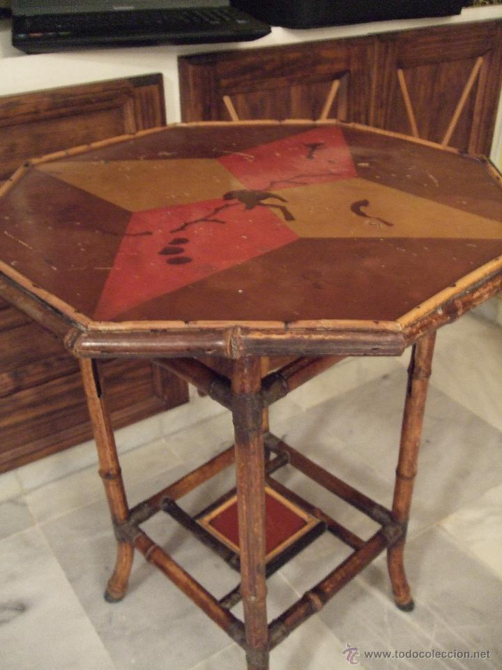Antigüedades: MODERNISTA. MESA VELADOR OCTOGONAL, CAÑA , BAMBU . CONSOLA. ART DECO - Foto 7 - 47883659