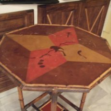 Antiquités: MODERNISTA. MESA VELADOR OCTOGONAL, CAÑA , BAMBU . CONSOLA. ART DECO. Lote 47883659