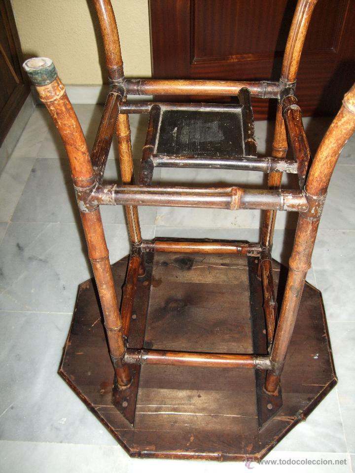 Antigüedades: MODERNISTA. MESA VELADOR OCTOGONAL, CAÑA , BAMBU . CONSOLA. ART DECO - Foto 6 - 47883659