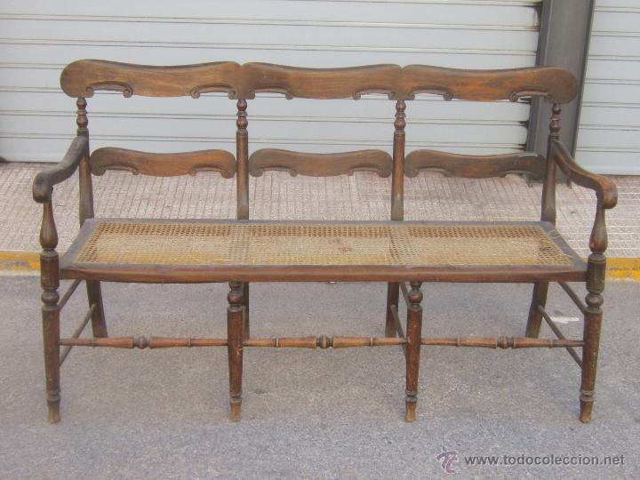 Sofa Antiguo En Madera Y Rejilla Comprar Sofas Antiguos En - Sofas-de-madera