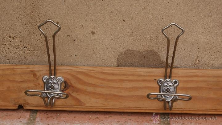 Antigüedades: Percha Perchero de madera y metal, Años 40. - Foto 3 - 47886798