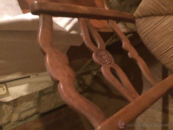Antigüedades: Antiguas 2 sillas años 40 madera chopo o pino, decoradas - Foto 5 - 47908188