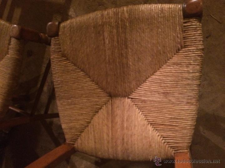 Antigüedades: Antiguas 2 sillas años 40 madera chopo o pino, decoradas - Foto 8 - 47908188