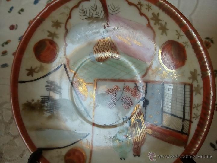 Antigüedades: 1. BONITA TAZA Y PLATILLO. PORCELANA JAPONESA. FINA, PINTADA A MANO Y DE GRAN TRANSPARENCIA. C. 1900 - Foto 3 - 53896836