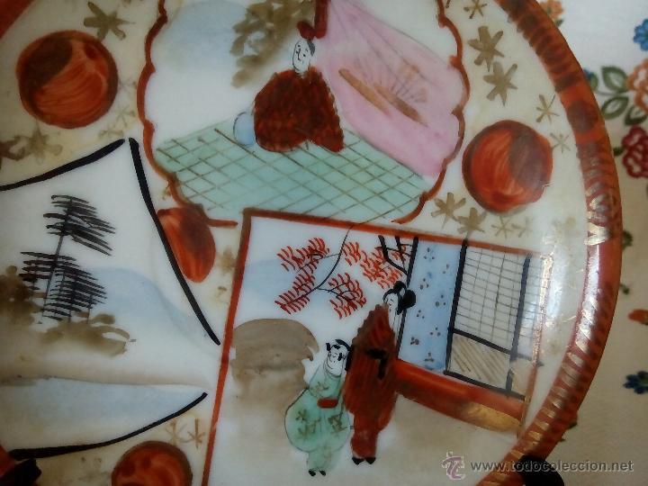 Antigüedades: 1. BONITA TAZA Y PLATILLO. PORCELANA JAPONESA. FINA, PINTADA A MANO Y DE GRAN TRANSPARENCIA. C. 1900 - Foto 4 - 53896836