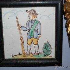 Antigüedades: ANTIGUO AZULEJO DE CERÁMICA PINTADO. Lote 47932774