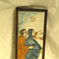 Antigüedades: 3 AZULEJOS FRAGMENTO ESCENA VIRGEN MARIA Y SAN JUAN CRUCIFIXIÓN S XIX. MED. 15 X 42 CM. Lote 47937795