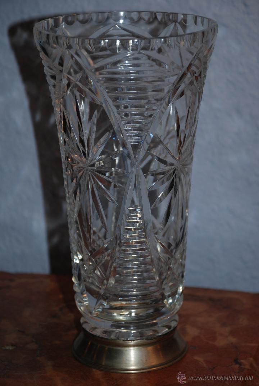 Antiguo jarr n de cristal tallado y base de pl comprar for Jarron cristal