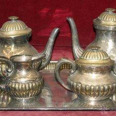 Antigüedades: PRECIOSO JUEGO DE CAFÉ EN METAL Y BAÑADO EN PLATA DE LA CASA GRIFÉ Y ESCODA. CIRCA 1930. Lote 47970529