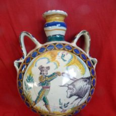 Antigüedades: IMPRESIONANTE BOTIJA CERÁMICA DE TRIANA SIGLO XIX TOROS. Lote 47972457