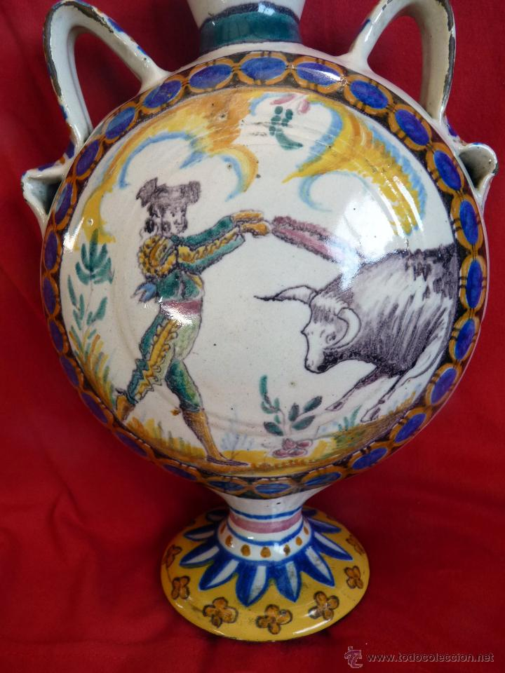 Antigüedades: IMPRESIONANTE BOTIJA CERÁMICA DE TRIANA SIGLO XIX TOROS - Foto 8 - 47972457