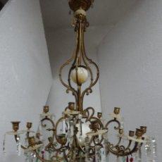 Antigüedades: LÁMPARA EN BRONCE SIGLO XIX 5 BRAZOS CON LAGRIMAS L13. Lote 47985582