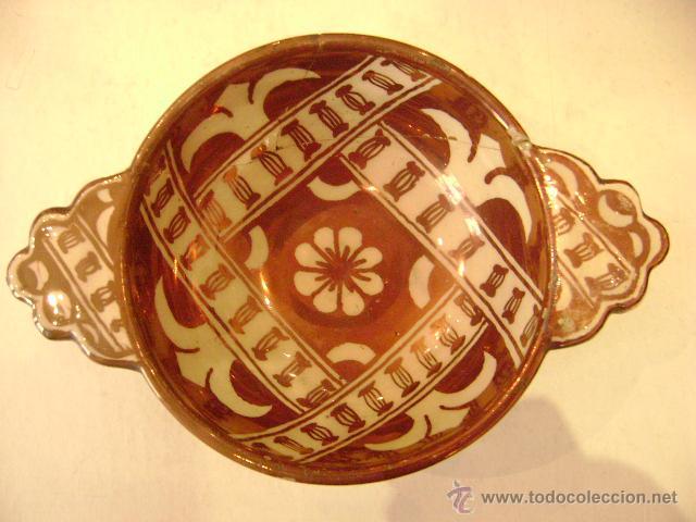 Antigüedades: MANISES.ESCUDILLA EN REFLEJO METALICO - Foto 3 - 27296856