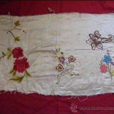 Antigüedades: ANTIGUO BORDADO EN SEDA FECHADO OVIEDO 1920. Lote 38833883