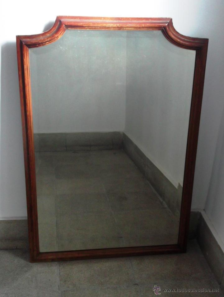 Espejo antiguo grande madera de caoba y luna comprar for Espejos antiguos grandes