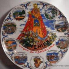 Antigüedades: ESPAÑA PRECIOSO PLATO DECORATIVO VIRGEN DE LA CANDELARIA TENERIFE CANARIAS - MIRA OTROS EN VENTA. Lote 47994920