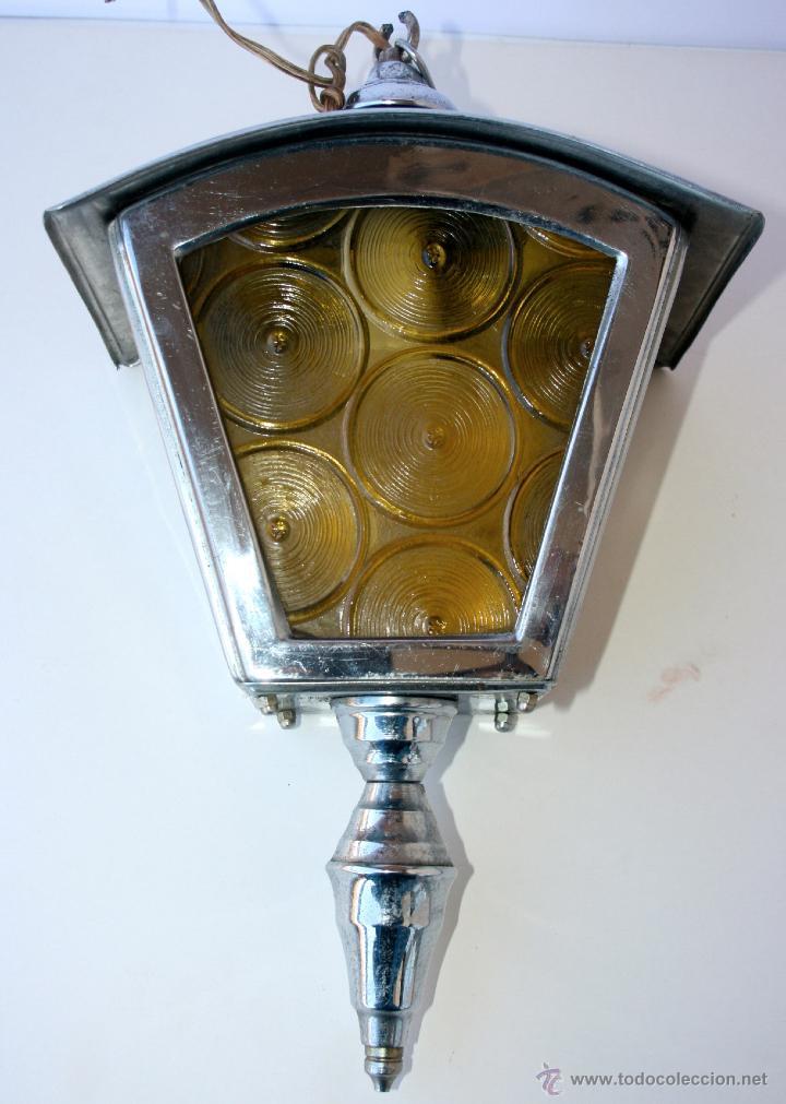 FAROL ANTIGUO METAL Y CRISTAL 36 X 22 X 14 CMS (Antigüedades - Iluminación - Faroles Antiguos)