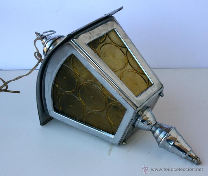 Antigüedades: FAROL ANTIGUO METAL Y CRISTAL 36 X 22 X 14 CMS - Foto 3 - 48001358