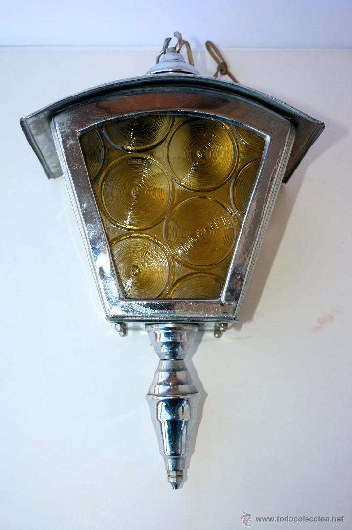 Antigüedades: FAROL ANTIGUO METAL Y CRISTAL 36 X 22 X 14 CMS - Foto 5 - 48001358