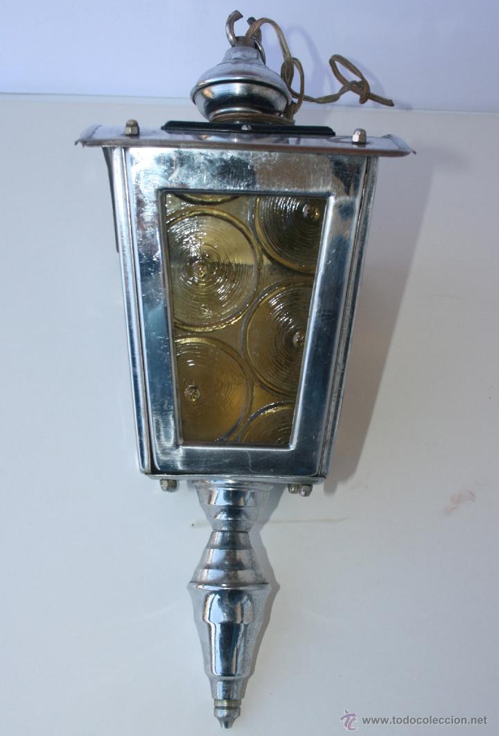 Antigüedades: FAROL ANTIGUO METAL Y CRISTAL 36 X 22 X 14 CMS - Foto 6 - 48001358