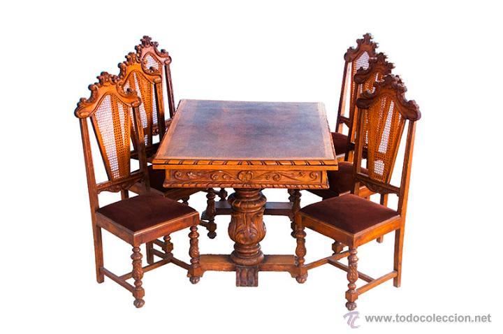 Conjunto de mesa y sillas de madera tallada del comprar - Sillas antiguas de madera ...