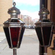 Antigüedades: FAROLES ANTIGUOS DE PROCESIÓN. DE LATÓN, HIERRO Y VIDRIO SOPLADO.. Lote 48040811