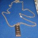 Antigüedades: LINGOTE PLATA SUIZA CON CADENA TAMBIEN DE PLATA MACIZA. Lote 48108302