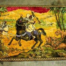 Antigüedades: ANTIGUO TAPIZ, GRANDE EN TEJIDO ATERCIOPELADO, CON MOTIVOS ARABES 186X120. BIEN CONSERVADO -REF101-. Lote 48147703