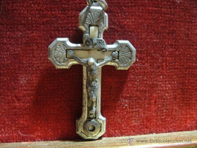 CRUCIFIJO SANTA RAFHAELA MARIA , A. S. CORDE IESV - METAL Y NACAR - CON RELIQUIA (Antigüedades - Religiosas - Crucifijos Antiguos)