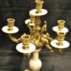 Antigüedades: CANDELABRO DE LATON Y PORCELANA. Lote 48161431