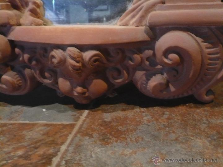 Antigüedades: Espejo neobarroco de terracota, grandes dimensiones 76X58X8 cm Años 60 perfecto estado. - Foto 3 - 48184132
