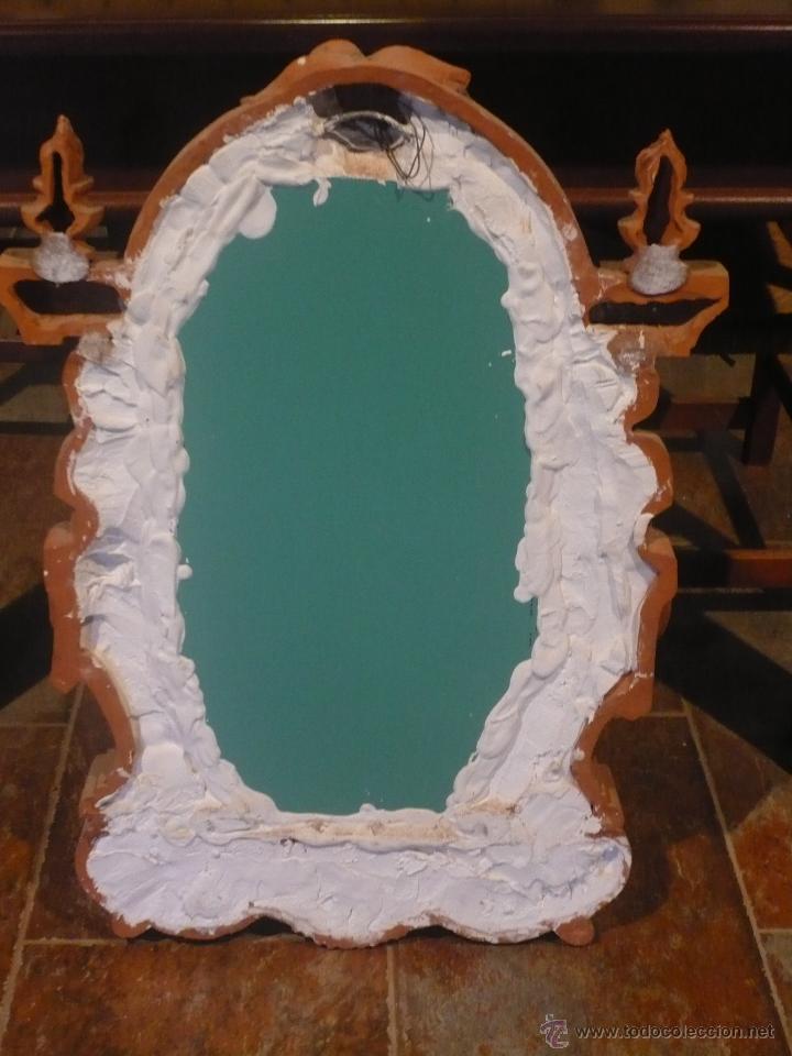 Antigüedades: Espejo neobarroco de terracota, grandes dimensiones 76X58X8 cm Años 60 perfecto estado. - Foto 4 - 48184132